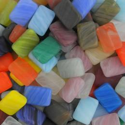Preciosa lasihelmisekoitus, värikkäät suorakaiteet 15 x 11 mm