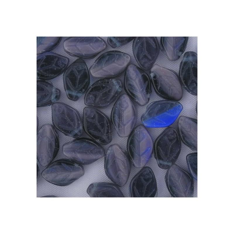 Tsekkiläinen lehtihelmi 12 x 7 mm, kirjava violetti