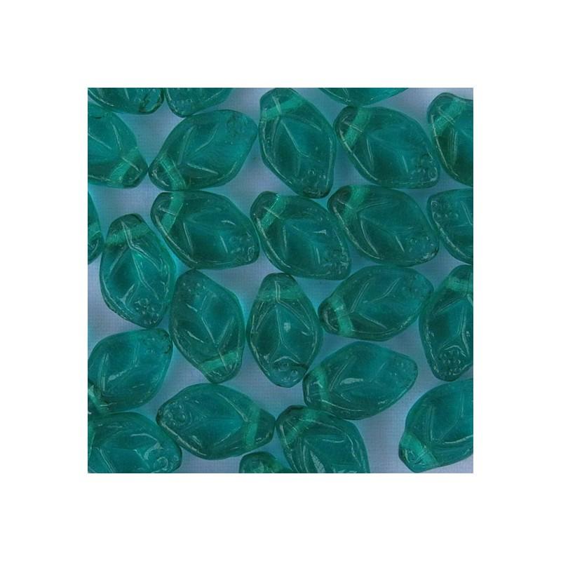 Tsekkiläinen lehtihelmi 12 x 7 mm, kirkas smaragdinvihreä