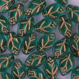 Tsekkiläinen lehtihelmi 12 x 7 mm, kirkas smaragdinvihreä/kulta