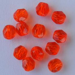 Tsekkiläinen fasettihiottu pyöreä lasihelmi 6 mm, kirkas vaalea rubiininpunainen