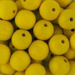 Preciosa pyöreä lakattu puuhelmi 12 mm, keltainen