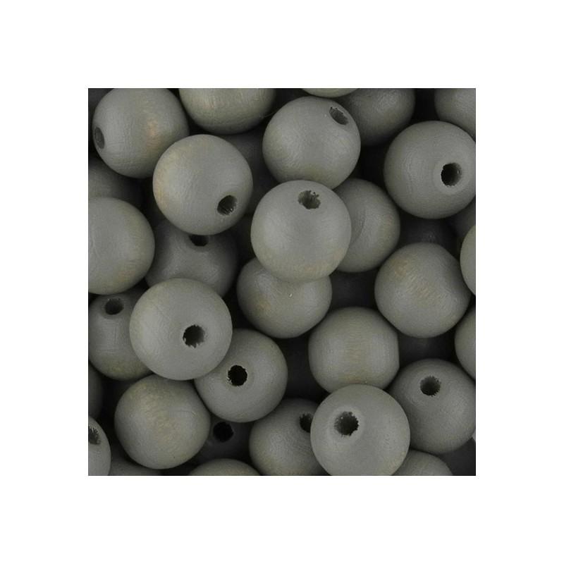 Preciosa pyöreä lakattu puuhelmi 10 mm, vaaleanharmaa