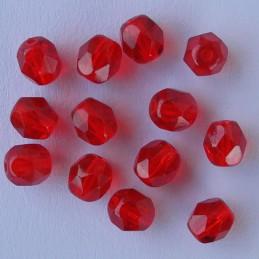 Tsekkiläinen fasettihiottu pyöreä lasihelmi 6 mm, kirkas rubiininpunainen