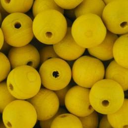 Preciosa pyöreä lakattu puuhelmi 10 mm, keltainen