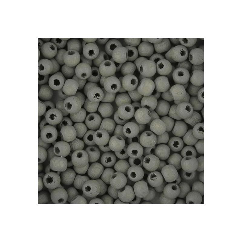 Preciosa pyöreä lakattu puuhelmi 4 mm, vaaleanharmaa