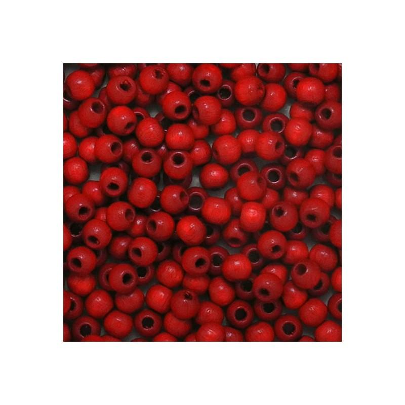 Preciosa pyöreä lakattu puuhelmi 4 mm,  punainen
