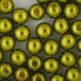 Preciosa pyöreä helmiäislasihelmi 8 mm, keltavihreä