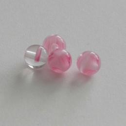 Tsekkiläinen pyöreä lasihelmi 6 mm, kirkas/pinkki