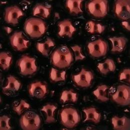 Preciosa pyöreä helmiäislasihelmi 6 mm, punaruskea