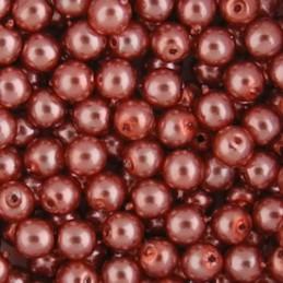 Preciosa pyöreä helmiäislasihelmi 4 mm, tumma persikka
