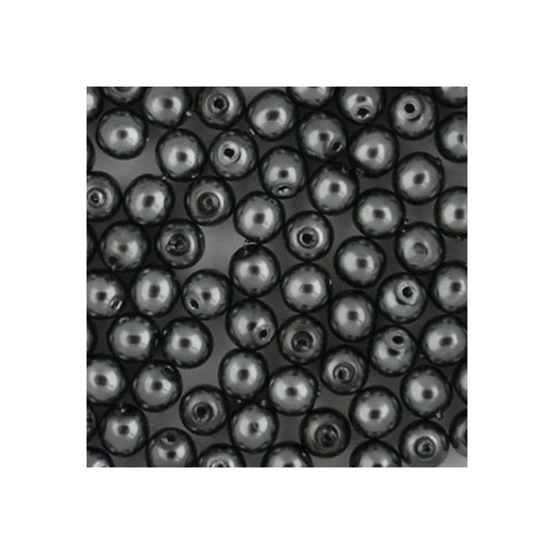 Preciosa pyöreä helmiäislasihelmi 4 mm, hematiitti