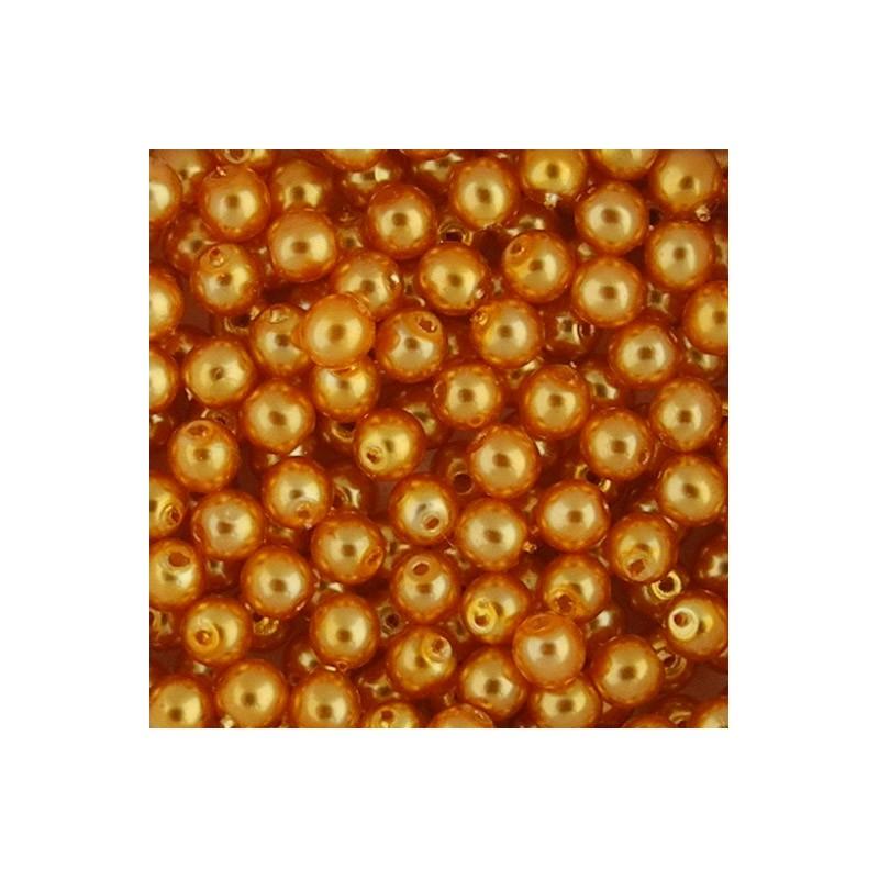 Preciosa pyöreä helmiäislasihelmi 4 mm, keltaoranssi