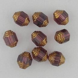 Tsekkiläinen fasettihiottu lasihelmi, propelli 10 x 8 mm, kirkas vaalea ametisti/pronssi