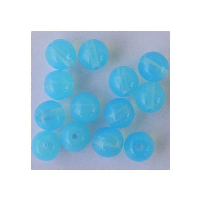 Tsekkiläinen pyöreä lasihelmi 6 mm, läpikuultava akvamariini