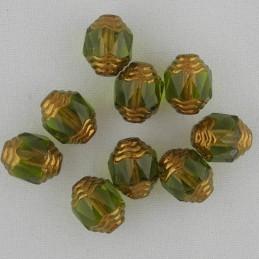 Tsekkiläinen fasettihiottu lasihelmi, propelli 10 x 8 mm, kirkas oliviini/pronssi