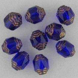 Tsekkiläinen fasettihiottu lasihelmi, propelli 10 x 8 mm, kirkas koboltinsininen/pronssi