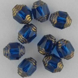 Tsekkiläinen fasettihiottu lasihelmi, propelli 10 x 8 mm, kirkas kaprinsininen/pronssi