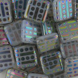 Tsekkiläinen litteä neliöhelmi 17 x 18 mm, läpikuultava vaaleanharmaa/vacuum