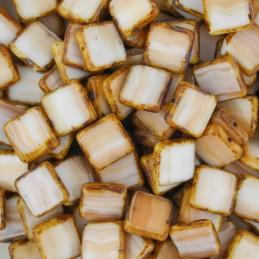 Tsekkiläinen table cut lasihelmi, litteä neliö 10 x 10 mm, kirjava vaaleanruskea/picasso