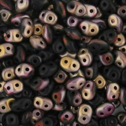 Superduo siemenhelmi 2,5 x 5 mm, opaakki matta musta apollo