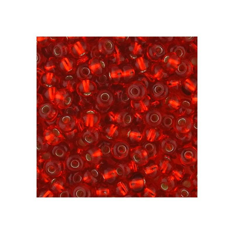 Preciosa pyöreä siemenhelmi 6/0, hopeasisus punainen