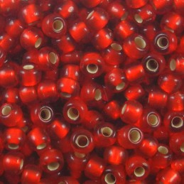 Toho pyöreä siemenhelmi 8/0, hopeasisus huurrettu rubiininpunainen