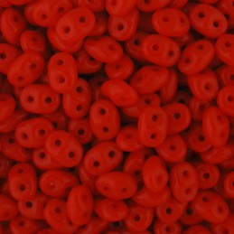 Superduo siemenhelmi 2,5 x 5 mm, opaakki punainen