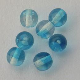 Tsekkiläinen pyöreä lasihelmi 6 mm, kirkas/kaprinsininen