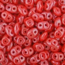 Superduo siemenhelmi 2,5 x 5 mm, opaakki kiiltävä korallinpunainen