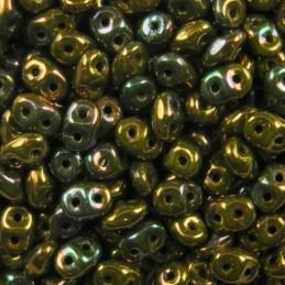 Superduo siemenhelmi 2,5 x 5 mm, opaakki pronssinen oliviini vega