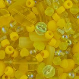 Tsekkiläinen lasihelmisekoitus, keltainen