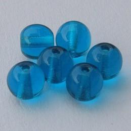 Tsekkiläinen pyöreä lasihelmi 6 mm, kirkas sinivihreä