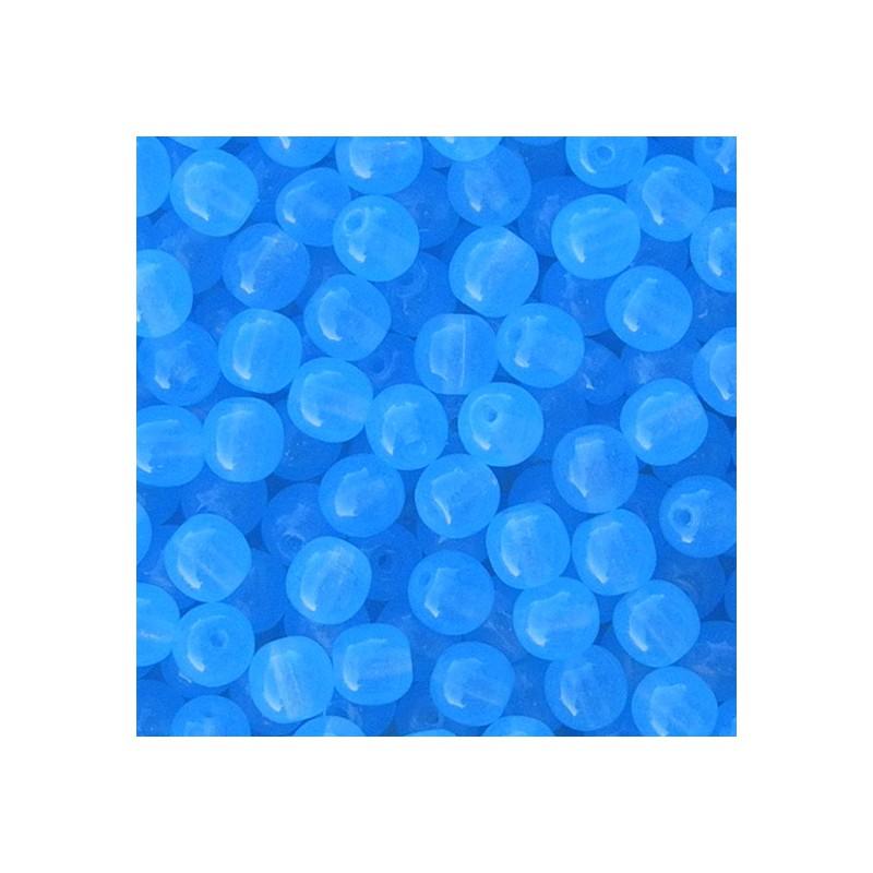 Tsekkiläinen pyöreä lasihelmi 6 mm, läpikuultava vedensininen