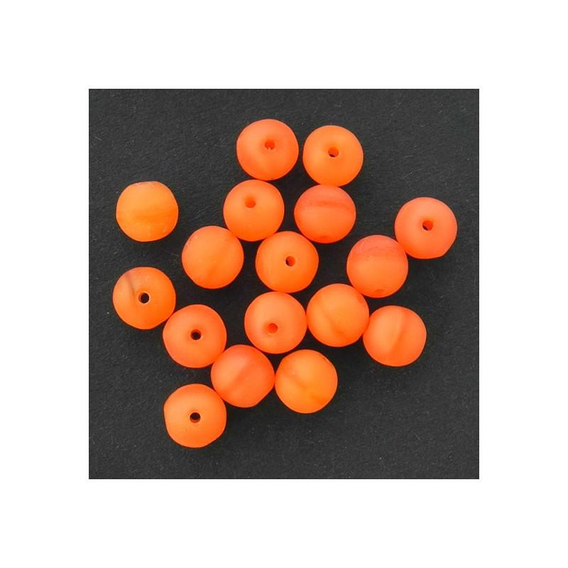Tsekkiläinen pyöreä lasihelmi 6 mm, läpikuultava matta oranssi