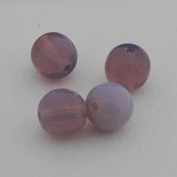 Tsekkiläinen pyöreä lasihelmi 6 mm, läpikuultava tumma ametisti