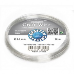 Griffin Craft Wire kuparilanka 0,6 mm, hopeoitu