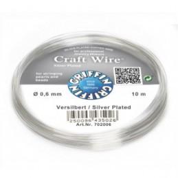Griffin Craft Wire kuparilanka 0,6 mm, hopeoitu