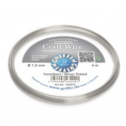 Griffin Craft Wire kuparilanka 1,0 mm, hopeoitu