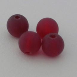Tsekkiläinen pyöreä lasihelmi 6 mm, kirkas matta rubiininpunainen