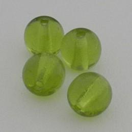 Tsekkiläinen pyöreä lasihelmi 6 mm, kirkas oliviini