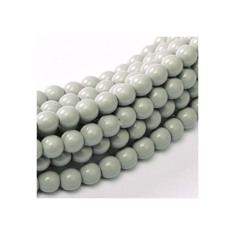 Tsekkiläinen fiesta helmiäislasihelmi 8 mm, vaaleanharmaa