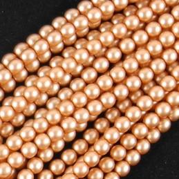 Tsekkiläinen mattapintainen helmiäislasihelmi 3 mm, kellanruskea satiini
