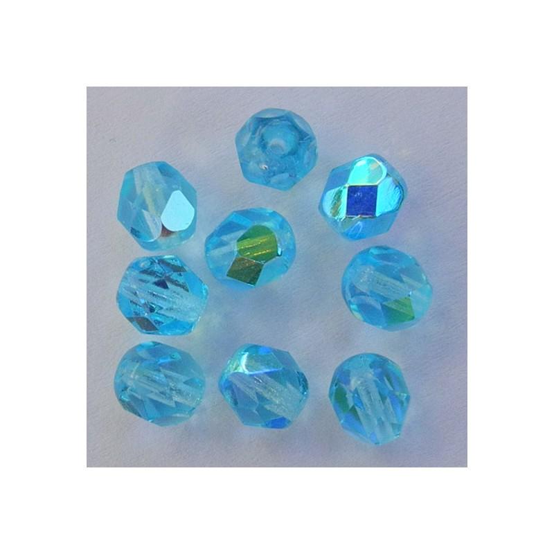 Tsekkiläinen fasettihiottu pyöreä lasihelmi 6mm, kirkas vaalea akvamariini AB