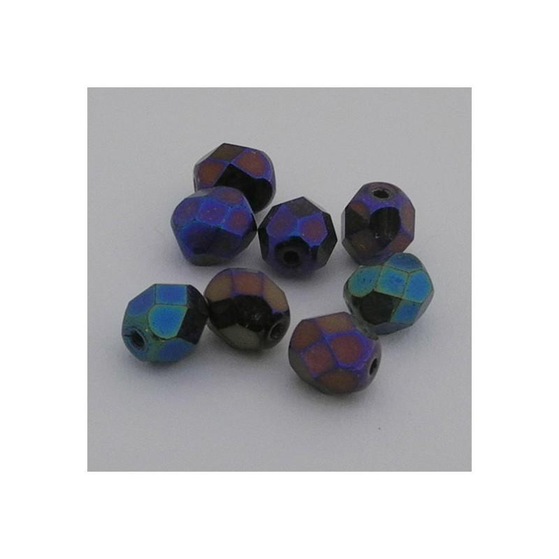 Tsekkiläinen fasettihiottu pyöreä lasihelmi 6mm, sininen iris