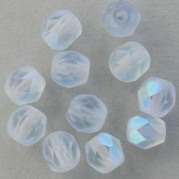 Tsekkiläinen fasettihiottu pyöreä lasihelmi 6mm, kirkas matta vaalea safiiri AB