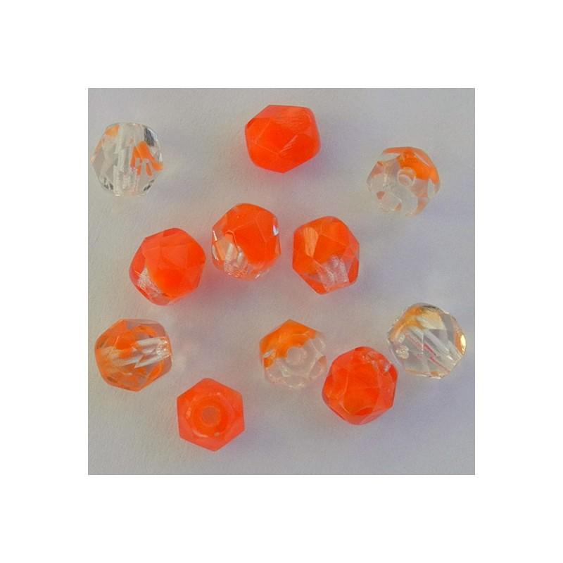 Tsekkiläinen fasettihiottu pyöreä lasihelmi 6mm, kirkas/punainen