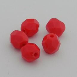 Tsekkiläinen fasettihiottu pyöreä lasihelmi 6mm, opaakki tummempi punainen