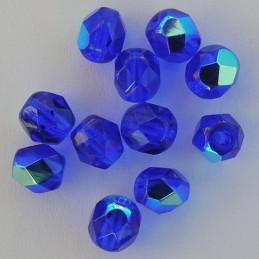 Tsekkiläinen fasettihiottu pyöreä lasihelmi 6mm, kirkas koboltinsininen AB
