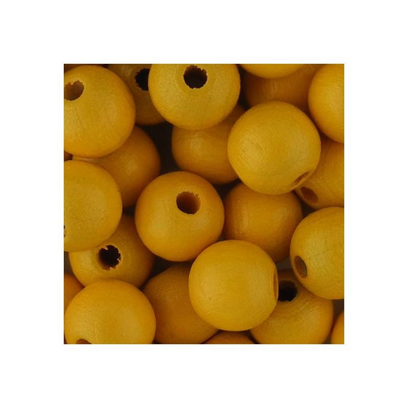 Preciosa pyöreä lakattu puuhelmi 8 mm, lämmin keltainen